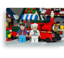 Doc and Marty and a Xmas Train Canvas Print