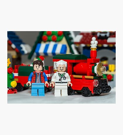 Doc and Marty and a Xmas Train Photographic Print