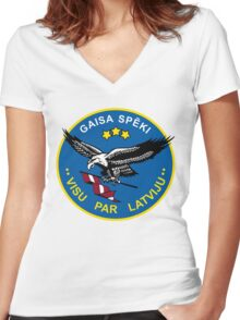 Latvian Air Force Emblem Women's Fitted V-Neck T-Shirt