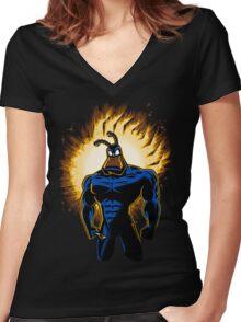 The Dark Mite Rises Women's Fitted V-Neck T-Shirt