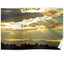 Golden Beams Of Sunlight Shining Down Poster