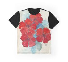 Red & Blue Hibiscus Graphic T-Shirt