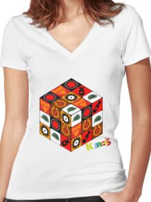 Kubrick Cube Women's Fitted V-Neck T-Shirt