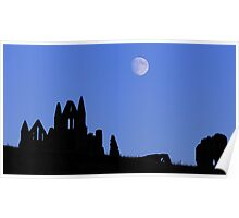 Whitby Abbey Moonrise Poster
