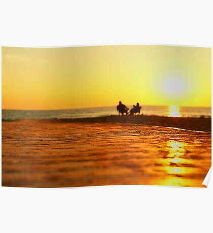 Lake Michigan sunset couple Poster