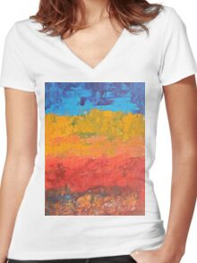 Namibia - peach and cyan blue Women's Fitted V-Neck T-Shirt