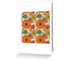 Colorful vintage abstract spring flowers Greeting Card