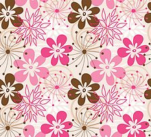Cute brown and pink abstract spring flowers by silvianna