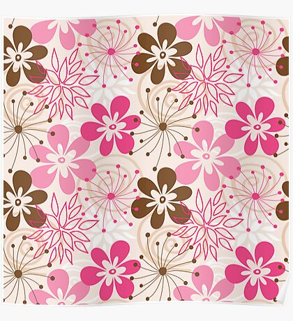 Cute brown and pink abstract spring flowers Poster