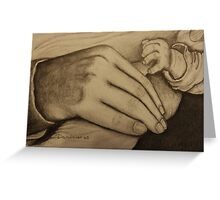 Mother and newborn hold hands Greeting Card