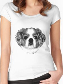 Cocker Spaniel Puppy Engraving Women's Fitted Scoop T-Shirt