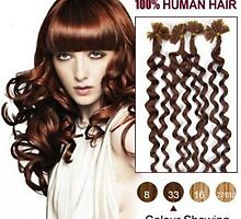 Discount Nail Tip Human Hair Extensions 100S Curly Dark Auburn 20 Inch For Sale by tiffanywuok1