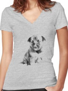 Adorable Husky Dog Puppy Engraving Women's Fitted V-Neck T-Shirt