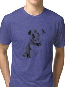 Adorable Husky Dog Puppy Engraving Tri-blend T-Shirt