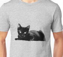 Adorable Black Kitten Digital Engraving Unisex T-Shirt