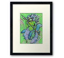 green mermaid Framed Print