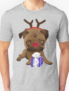 Cute Reindeer Pug with Present Unisex T-Shirt