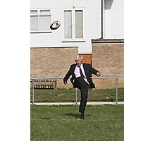 Boris Johnson kicking a rugby ball at streatham-croydon R.F.C. Photographic Print