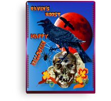 Raven and Red Moon-lettered Canvas Print
