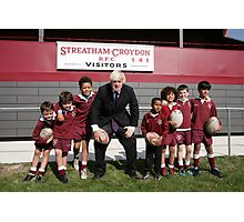 Boris Johnson poses with kids at streatham-croydon R.F.C. Photographic Print