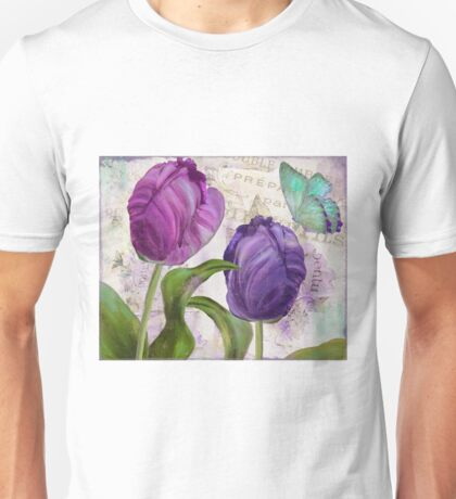 Purple Parrot Tulips Unisex T-Shirt