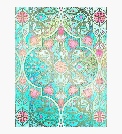 Floral Moroccan in Spring Pastels - Aqua, Pink, Mint & Peach Photographic Print