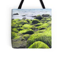 Rocks covered by green seaweed by the seaside. Tote Bag