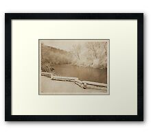 huron river, river, ann arbor, michigan outdoors, nature, fence, winter photography, sepia tone, vintage photography, grunge, texture, snow covered trees, environment, outdoors Framed Print