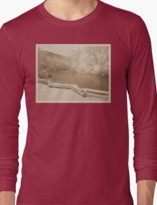 huron river, river, ann arbor, michigan outdoors, nature, fence, winter photography, sepia tone, vintage photography, grunge, texture, snow covered trees, environment, outdoors Long Sleeve T-Shirt