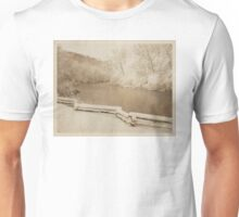 huron river, river, ann arbor, michigan outdoors, nature, fence, winter photography, sepia tone, vintage photography, grunge, texture, snow covered trees, environment, outdoors Unisex T-Shirt