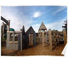 Kids' wooden adventure playground. Poster