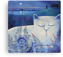 Blind white cat on a moonlit night. Canvas Print