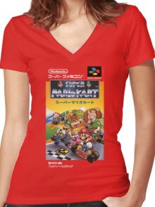 Super Mario Kart Nintendo Super Famicom Japanese Box Art Shirt (SNES) Women's Fitted V-Neck T-Shirt