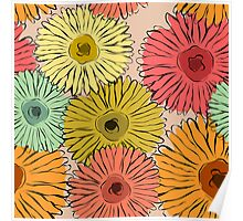 Colorful vintage abstract sunflower Poster