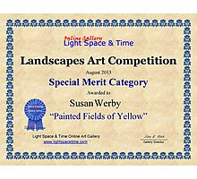"Special Merit Category-Landscapes Art Competition-""Painted Fields of Yellow"" Photographic Print"