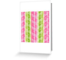 Green and pink floral pattern with stripes Greeting Card