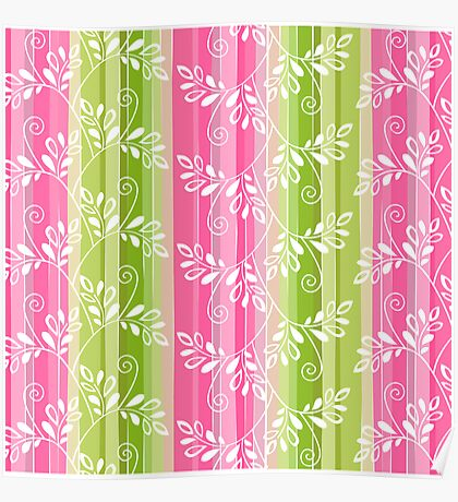 Green and pink floral pattern with stripes Poster