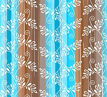 Brown and blue floral pattern with stripes by silvianna