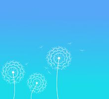 Blue dandelion in spring by silvianna