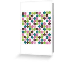 Pink green polka dots Greeting Card