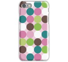 Pink green polka dots iPhone Case/Skin