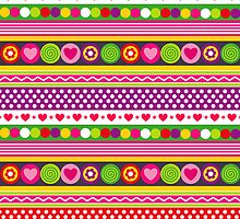 Colorful abstract pattern with flowers hearts and dots by silvianna
