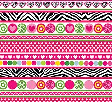 Colorful abstract zebra hearts and dots pattern by silvianna