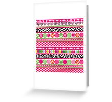 Colorful abstract zebra hearts and dots pattern Greeting Card