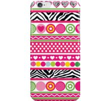 Colorful abstract zebra hearts and dots pattern iPhone Case/Skin