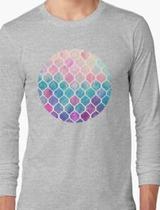 Rainbow Pastel Watercolor Moroccan Pattern Long Sleeve T-Shirt