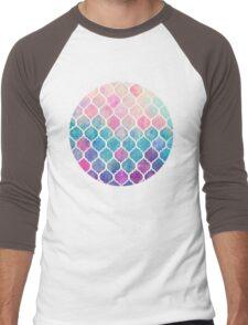 Rainbow Pastel Watercolor Moroccan Pattern Men's Baseball ¾ T-Shirt