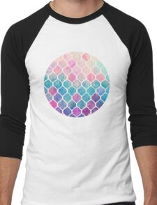 Rainbow Pastel Watercolor Moroccan Pattern Men's Baseball ¾ T-Shirt