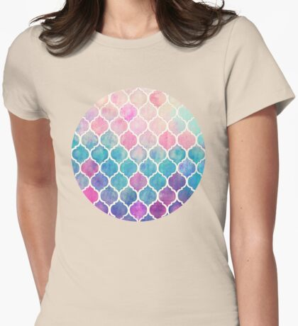 Rainbow Pastel Watercolor Moroccan Pattern Womens Fitted T-Shirt