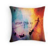 Never Grow Up Nebula Throw Pillow